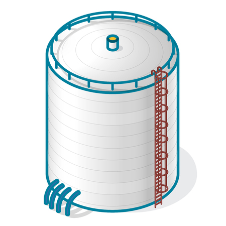 sewage treatment plant: A tank for storing water, gas, oil, oxygen and other solid fuels. Part of wastewater treatment plant, WWTP. Isometric vector symbol for water management, gasometer or deal with fuel and drinking water.