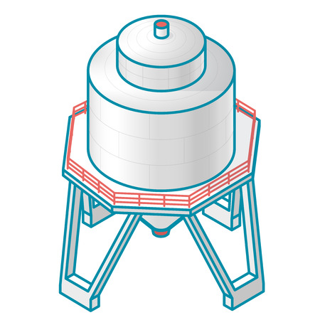 sewage treatment plant: A tank for storing water, gas, oil, oxygen and other solid fuels. Part of wastewater treatment plant, WWTP. Isometric  symbol for water management, gasometer or deal with fuel and drinking water. Illustration