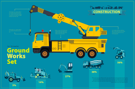 Yellow crane. Blue infographic big set of ground works blue machines vehicles. Catalog page. Heavy construction equipment for building digger truck crane bagger mix. Transportation master vector. Illustration