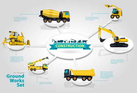 roadwork: Yellow crane. Blue infographic big set of ground works blue machines vehicles. Catalog page. Heavy construction equipment for building digger truck crane bagger mix. Transportation master.