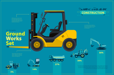 Yellow forklift. Blue infographic big set of ground works blue machines vehicles. Catalog page. Heavy construction equipment for building digger truck crane bagger mix. Transportation master vector.