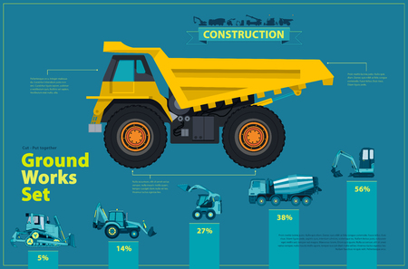 Yellow truck. Blue infographic big set of ground works, blue machines vehicles. Catalog page. Heavy construction equipment for building digger truck crane bagger mix. Transportation master vector.