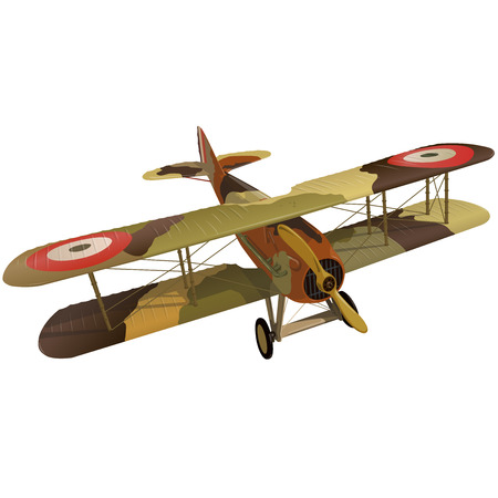 Biplane from World War with military camouflage. Model aircraft propeller with two wings. Old retro aircraft designed for poster printing. Beautifully and realistically drawn vector flying Biplane.