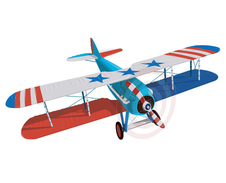 Biplane from World War with colors of flag of the United States. Model aircraft propeller with two wings. Old retro aircraft designed for a poster. Beautifully and realistically vector flying Biplane. Illustration