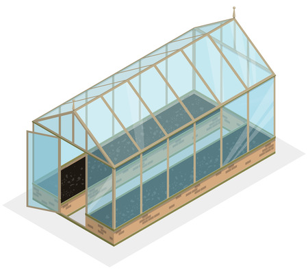 Isometric greenhouse with glass walls, foundations, gable roof and garden bed. Vector Horticultural Conservatory for growing vegetables and flowers. Classic cultivate greenhouse gardening.