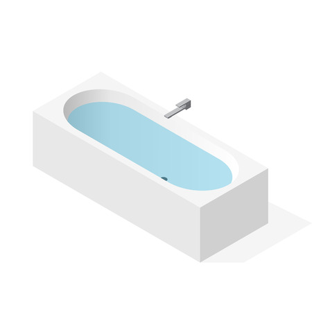Modern bathtub filled with water. Vector bath tub in isometric perspective. Isolated sanitary equipment Purchased with modern water tap battery. Rectangular bathroom fixtures in family apartment house