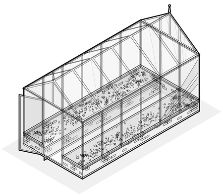 horticultural: Outlined isometric greenhouse with glass walls, foundations, gable roof and garden bed. Vector Horticultural Conservatory for growing vegetables and flowers. Classic cultivate greenhouse gardening.