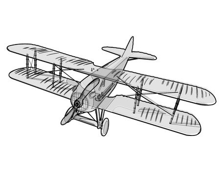 Biplane from World War with outline. Model aircraft propeller with two wings. Old retro vector aircraft designed for poster printing. Beautifully and realistically drawn vector flying Biplane. Illustration