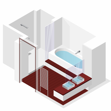 Modern bathroom with wooden floor in isometric perspective. Shower enclosure with sliding glass doors. Bathtub filled with water. Bathroom sinks with mirror. Vector Washroom sanitary equipment. Illustration