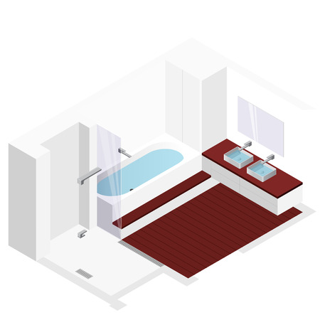 washroom: Modern bathroom with wooden floor in isometric perspective. Shower enclosure with sliding glass doors. Bathtub filled with water. Bathroom sinks with mirror. Vector Washroom sanitary equipment. Illustration
