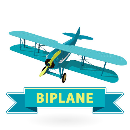 Biplane from World War with blue coating. Model aircraft propeller with two wings. Old retro aircraft designed for poster printing. Beautifully and realistically drawn vector flying Biplane. Illustration