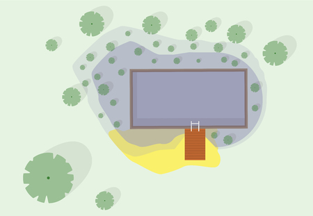 calm water: Garden project at bathing pond. Oasis of calm in garden of house. Swim pond with plants and rectangular swimming area. Natural garden swimming pond. Architectural vector illustration of water surface.