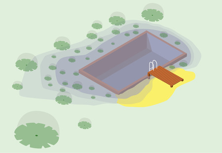 calm water: Isometric garden project at bathing pond. Oasis of calm in garden of house. Swim pond with plants and rectangular swimming area. Natural garden swimming pond. Vector illustration of water surface.