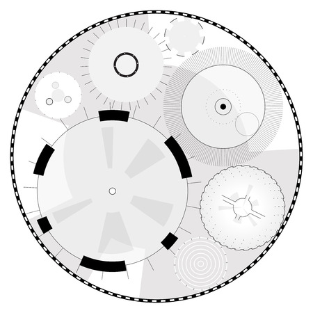 Abstract round high-tech mandala with circles. Space Time Machine. Transparent fill up screen or monitor. Isolated central sight of wheels. Subtle bizarre mechanical clock gear on white. Master vector Illustration
