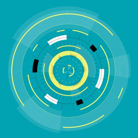 Resumen redondo de alta tecnología mandala con círculos. Máquina del tiempo del espacio. Transparente llenar la pantalla o el monitor. Aislado vista central de las ruedas. Reloj mecánico extraño sutil en azul. Vector maestro Vectores
