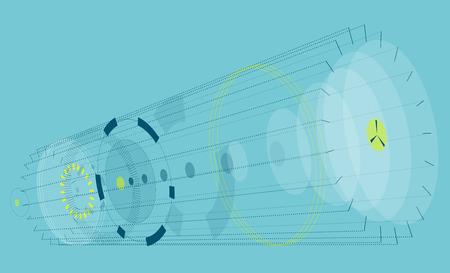 Composition abstraite horizontale sur fond bleu. composition circulaire vague perspective isométrique. Subtil vecteur de fond composé de cercles et d'ellipses. High-tech engins mécaniques transparents