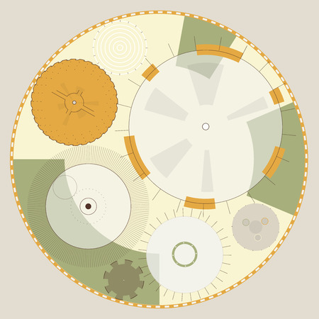 Abstract round sight-tech space weapons with circles. Transparent fill up screen and monitor. Beige props for filming. Ochre central sight of wheels. Subtle mechanical gears on white. Master vector.