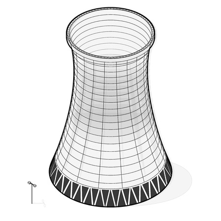 Vector cooling tower of power plant. Outlined concrete tower thermal power plant in isometric perspective with street lamps. Industrial architecture, power station tower, cylindrical building.
