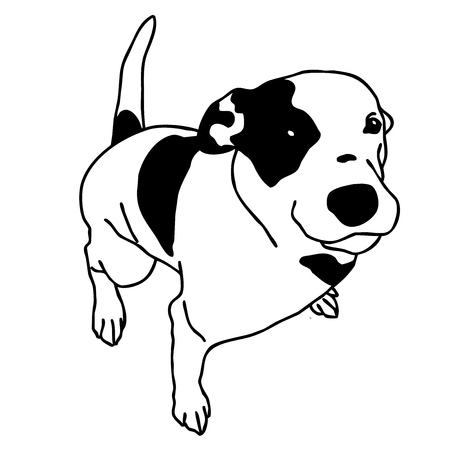 Vector black and white dog sitting. Smart and darling doggie. Mans Best Friend. Outlined cute doggy.