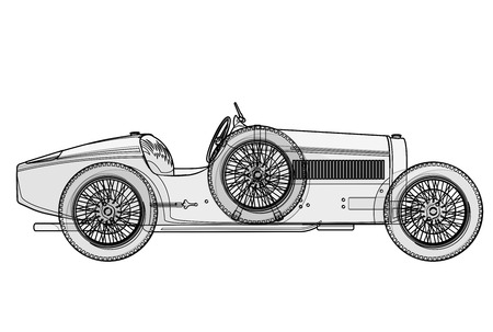 Ancient Bugatti race car in contour lines as per schedule. Side view of racing machine with woven though.