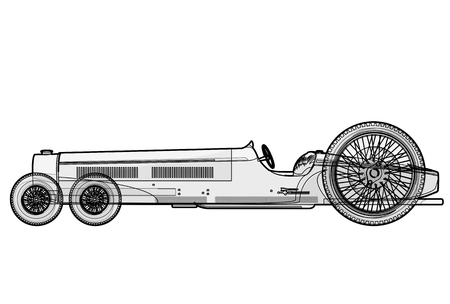 Overly long car looks like a limousine. Ancient car with six wheels made in contour lines. Black and white Outlined car isolated on white background. Historical master vector illustration. Illustration