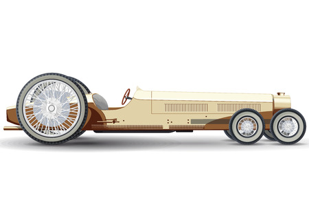 energized: Overly long car looks like a limousine. Ancient creamy car with six wheels made in contour lines. Illustration