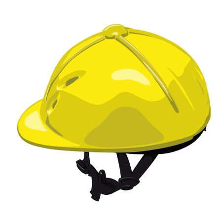 Yellow vector riding helmet. Isolated jockey protection on white background. Realistic object from equestrian enviroment with horses.