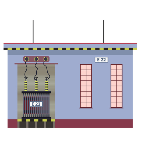 powerhouse: Electric transformer 2D building info graphic.
