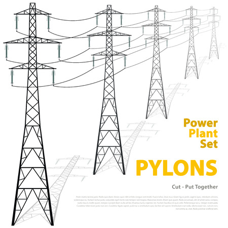powerhouse: Vector high voltage pylons on white background. Isolated colonnade of metal poles voltage. Surface industrial illustration. Power line pylons with typography. Nuclear facilities and power arteries.