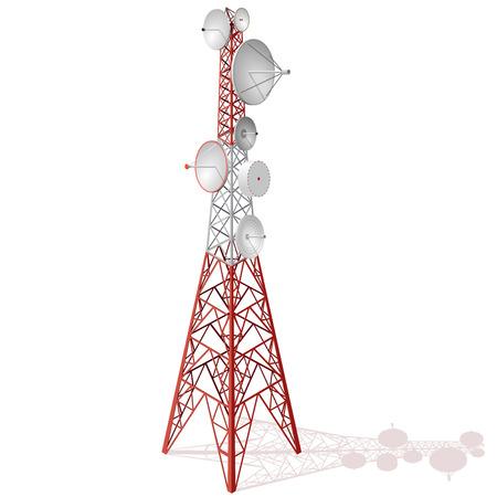 Torre satellite vettoriale in isometrica. Segnali telefonici e televisivi della torre di trasmissione. Torre delle comunicazioni bianco-rosso.