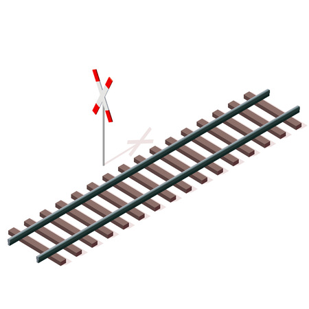 Vector railway in 3d isometric perspective isolated on white background with railway cross sign. Industrial transportation building. Metallic track architecture with frets. Rail with sleepers. Illustration