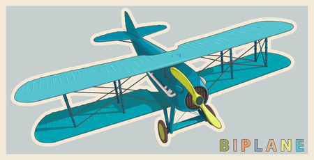 Blue Biplane in vintage and color stylization. Model aircraft propeller with two wings.