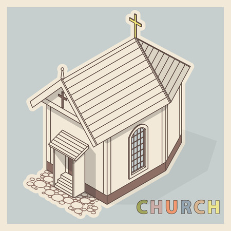 A Vector small Christian church in isometric perspective, in retro vintage style. Religious rural architecture. Building worship of God. Religion Baroque church with crucifix and colored typography.