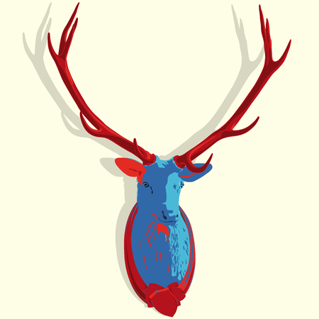 Vector mounted head of deer in pop art stylization. Red and blue stuffed stag with antlers monumental. Hunting antique trophy. Taxidermy of deers head hung on a white wall. Flatten master illustration. Illustration
