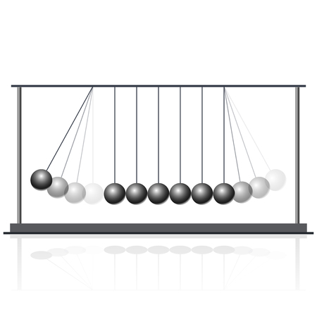 pendulum: Vector Newton swing. Pendulum Cradle metal bolls. Flatten master illustration.