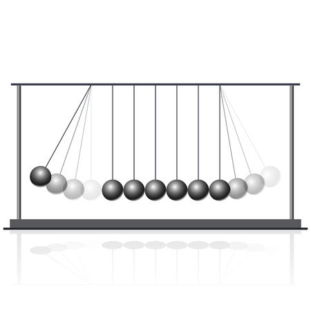 Vector Newton swing. Pendulum Cradle metal bolls. Flatten master illustration.
