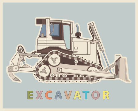 Vector low poly digger in retro style color. Vintage Sophisticated elaborated excavator. Illustration