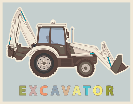 Cool Vector low poly digger in retro style color. Vintage Sophisticated elaborated excavator. Illustration