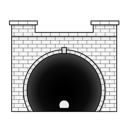 diminishing view: Vector railway low poly tunnel in front view in outline stylization. Old stone circular tunnel with light at the end. Isolated on white background. Diminishing perspective.