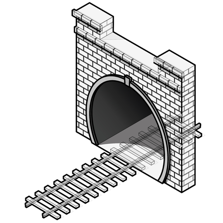 Vector railway tunnel in low poly 3d isometric perspective in outline stylization. Old stone circular tunnel with a light at the end. Isolated on white background. Diminishing perspective.