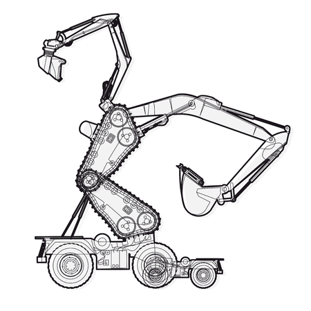 Bizarre Outlined machine robot build components from ground works vehicles.