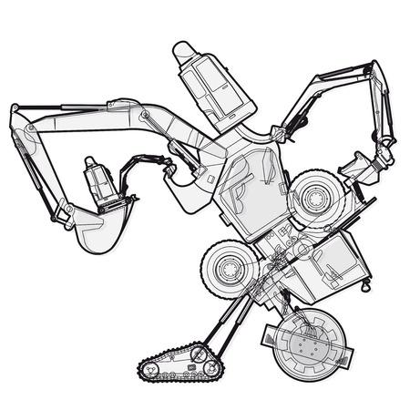Bizarre Outlined machine robot build components from ground works vehicles. Construction equipment for building. Truck forklift crane digger excavator bagger transportation mix. Vector illustration.