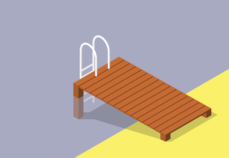 Vector wooden pier with small pool. Brown wharf with ladder steps into swimming pool.