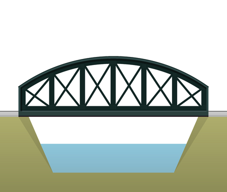 Vector train arched bridge in side view and isolated on white background. Industrial 2d transportation building. Metallic bridge architecture. Railway bridge arc. Assembled riveted bridge construction Illustration