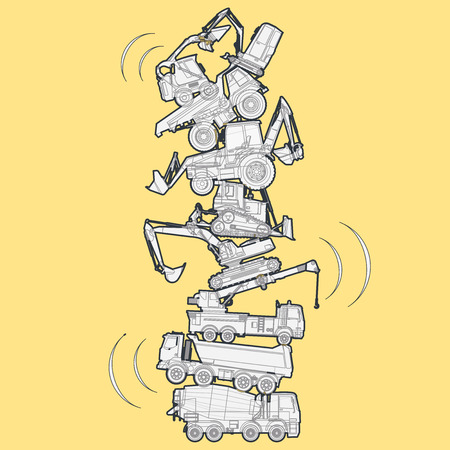 Tower building assembled from machines - truck, digger, crane, bagger. Construction machinery Outlined set on yellow, ground works. Machine vehicles, excavator. Build equipment. Vector illustration.