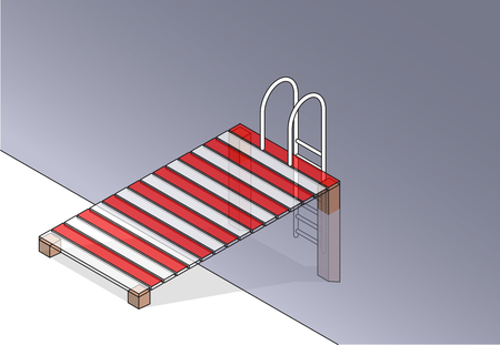 wharf: Vector wooden pier with small pool. Wharf with ladder steps into swimming pool. Outlined isometric garden project at bathing pond. Oasis in garden of house with swimming area. Natural swimming pond.