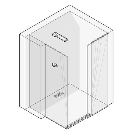 Shower enclosure with sliding glass doors. Outlined modern white bathroom. Illustration