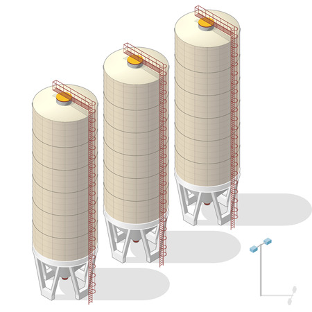 Grain silo building isometric info graphic, big ocher seed elevator on white background. Illustration of agriculture, farming, husbandry. Flatten isolated master vector.