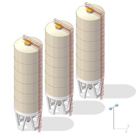 Silo di grano che sviluppa le informazioni isometriche grafico, grande ascensore ocraceo del seme su fondo bianco. Illustrazione dell'agricoltura, agricoltura, allevamento. Appiattisca il vettore principale isolato. Vettoriali