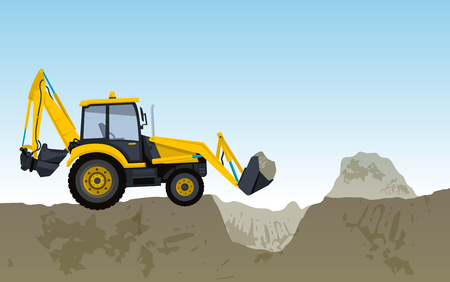 Big yellow digger builds roads Excavating of sticks, ground works Construction machinery. Illustration for internet banner or poster icon. Flatten isolated vector illustration master.